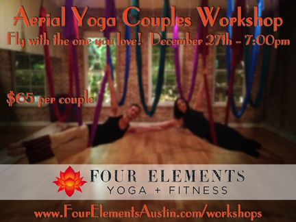 aerial yoga couples workshop in austin at four elements yoga